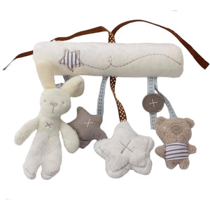lovebabymammy.com Rabbit baby hanging bed safety seat plush toy Hand Bell Multifunctional Plush Toy Stroller Mobile Gifts WJ141 (With BB bell)