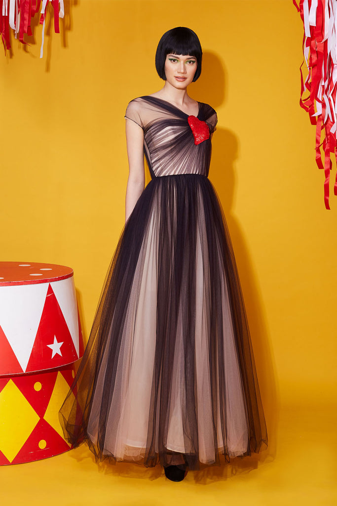 Heart Shape Sequins Embellished Tulle Dress