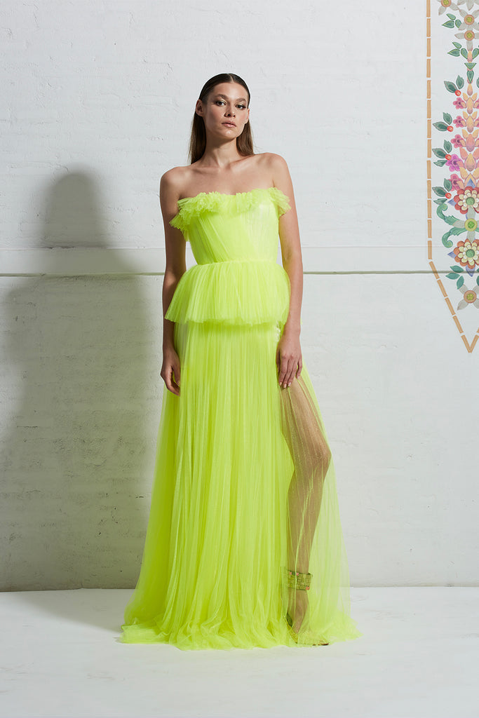 Strapless Raffled Tulle Top with Tulle Skirt