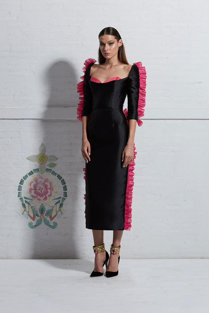 Black Dress with Pink Pleated Ruffle