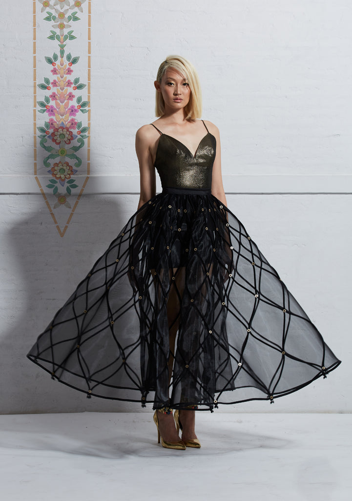 Lame Spaghetti Straps Top with Mesh Circular Skirt