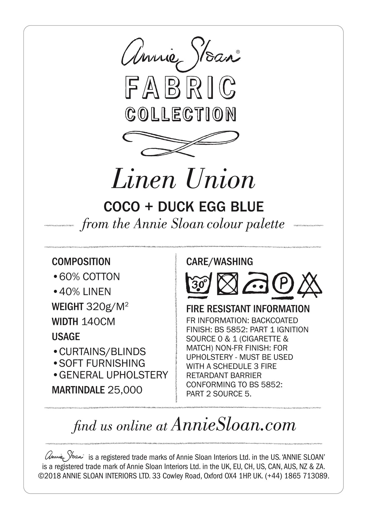 Linen Union in Coco + Duck Egg Blue