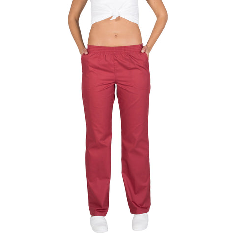 Pantalon Para Chef Unisex Burdeos Con Resorte Bolsillos