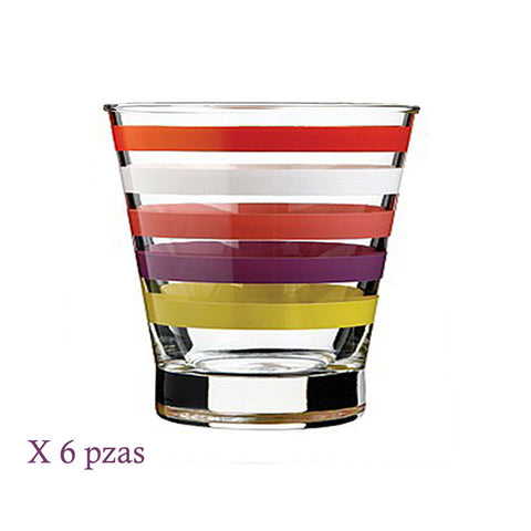 vaso old fashion stripe (6 piezas) ocean
