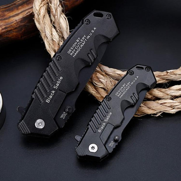 Black Sable™ Folding Tactical Knife - HighTecSurvive