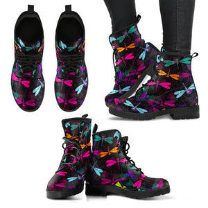 Handcrafted Dragonfly Pattern Boots