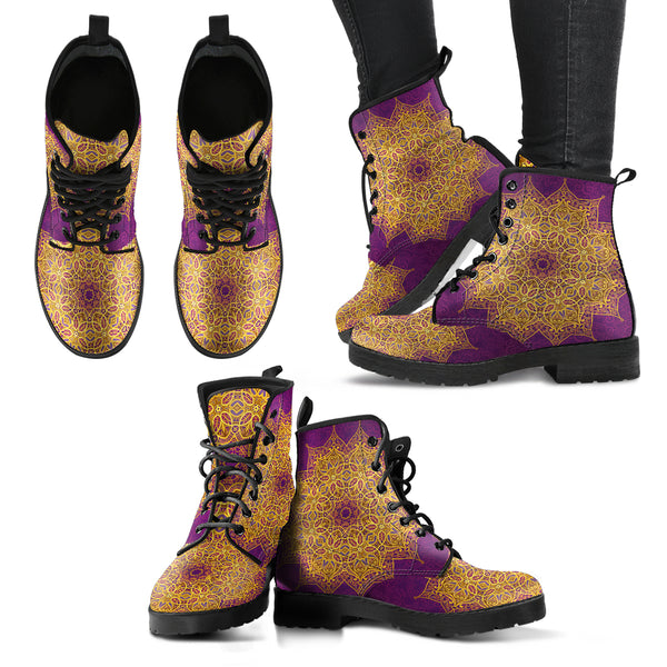 HandCrafted Gold and Purple Mandala Boots.
