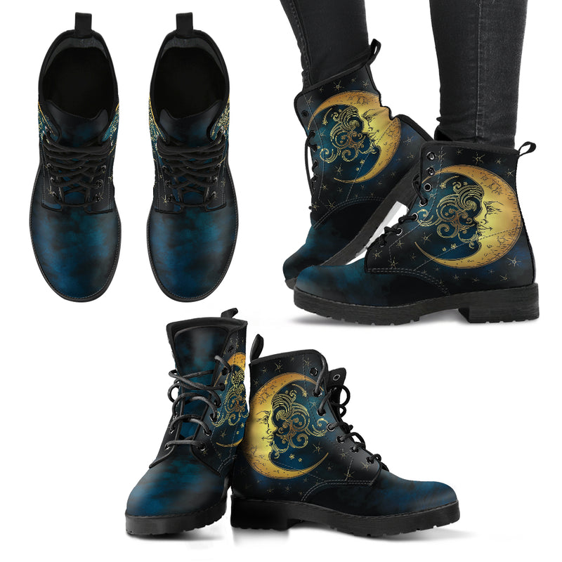 Moon With Swirl Handcrafted Boots