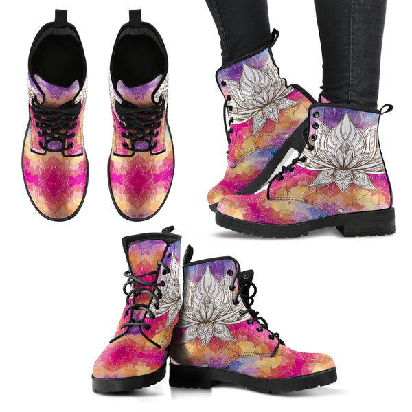 Handcrafted Colorful Lotus Hand Boots