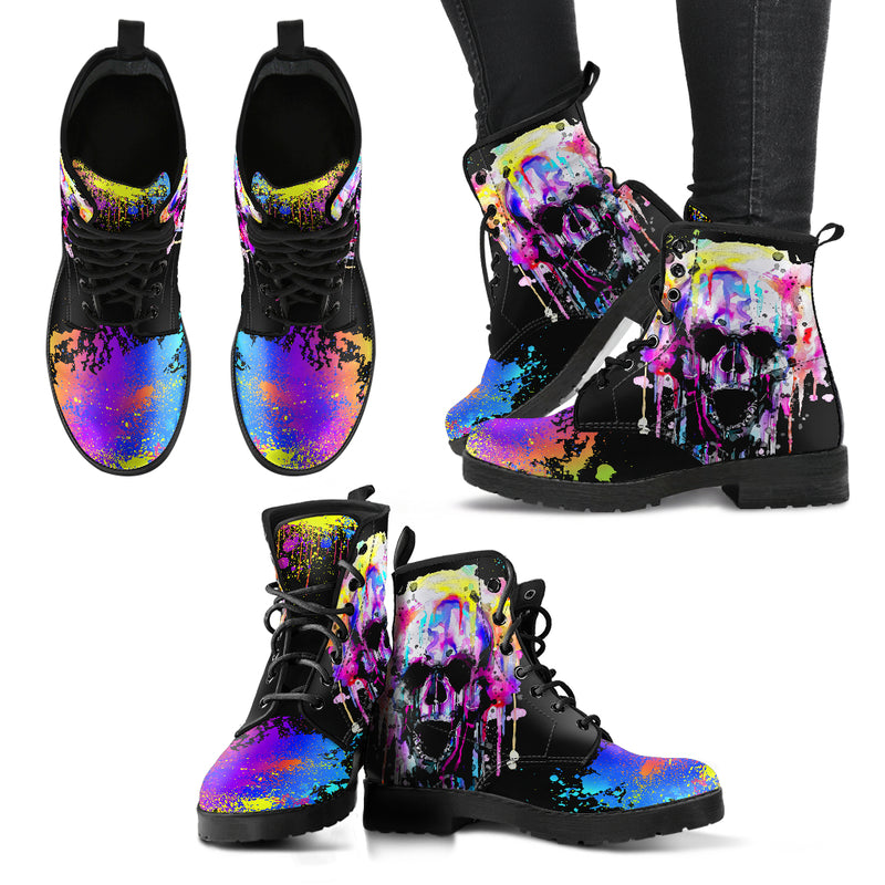 Colorful Skull Handcrafted Boots