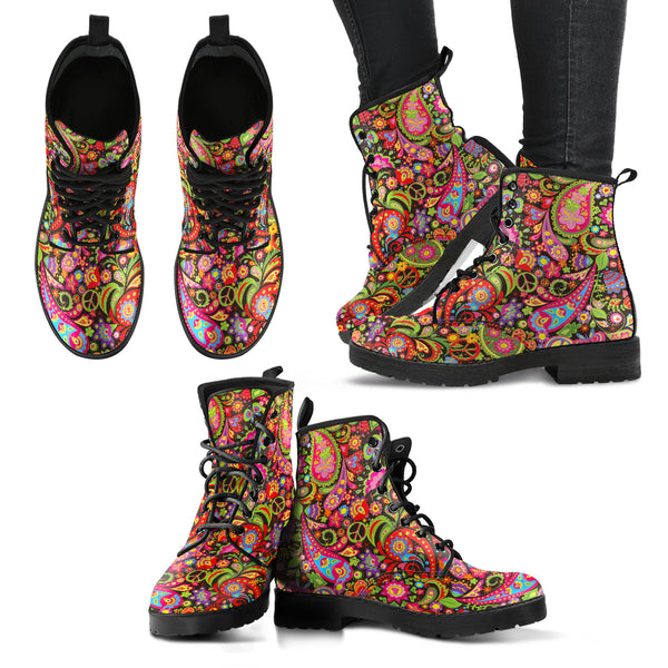 HandCrafted Colorful Peace Hippie Boots.