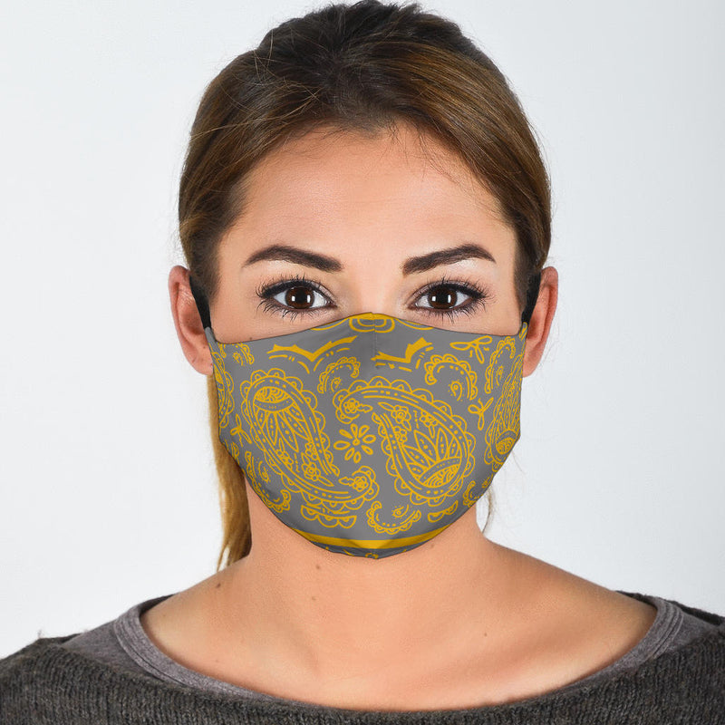 Gray and Gold Bandana Face Mask