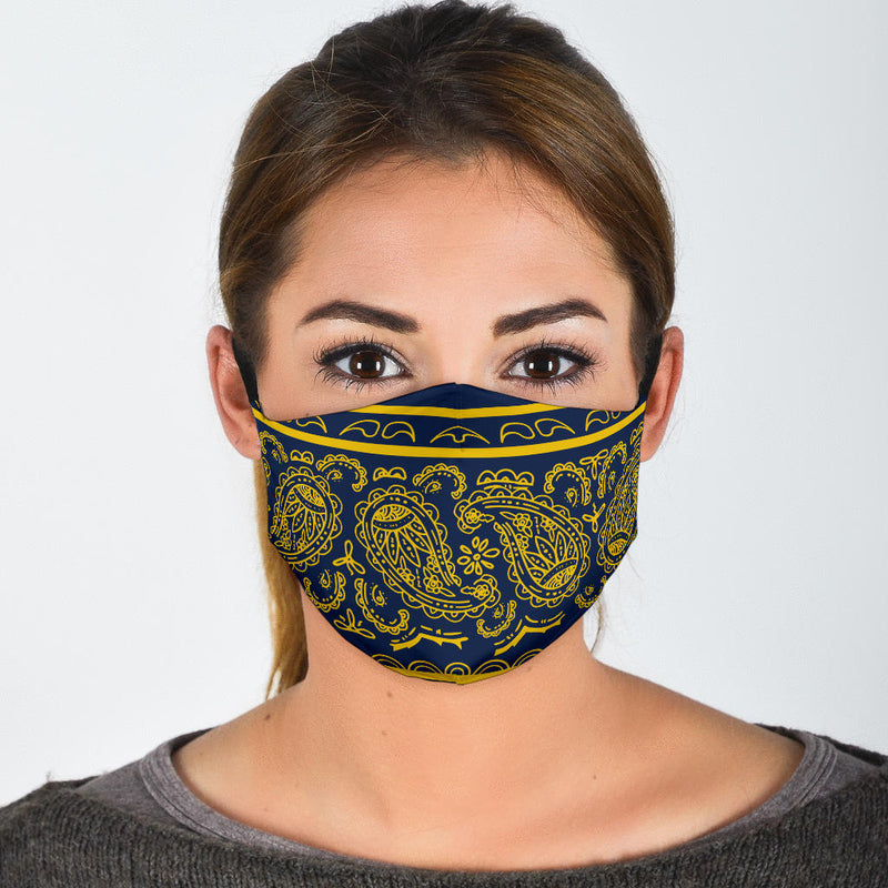 Edge Navy Blue and Gold Bandana Face Mask