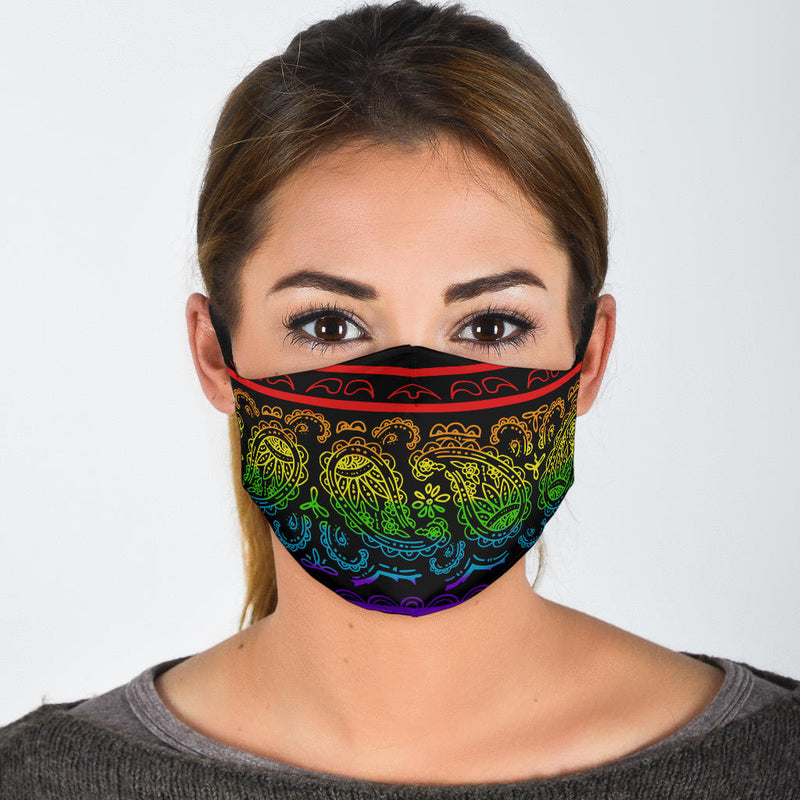 Edge Rainbow Paisley Bandana Face Mask