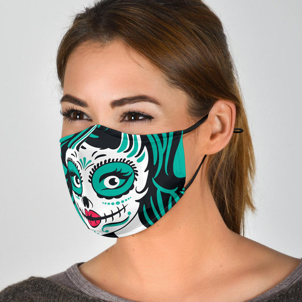 Adjustable Calavera Face Mask with 5 Layer Filters