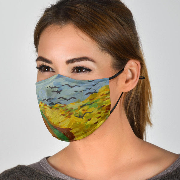 Adjustable Wheat Fields Face Mask with 5 Layer Filters