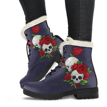 Load image into Gallery viewer, Skull Couple Roses (Eclipse) - Faux Fur Leather Boots