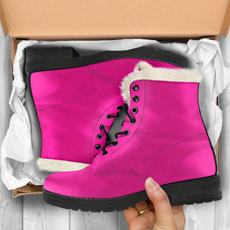 Deep Pink - Faux Fur Leather Boots
