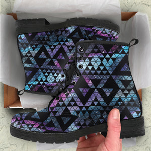Geometric Nebula Leather Boots
