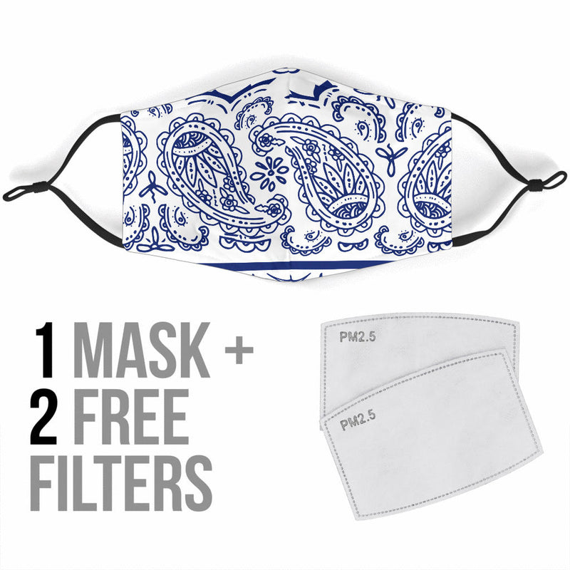 White and Blue Face Mask
