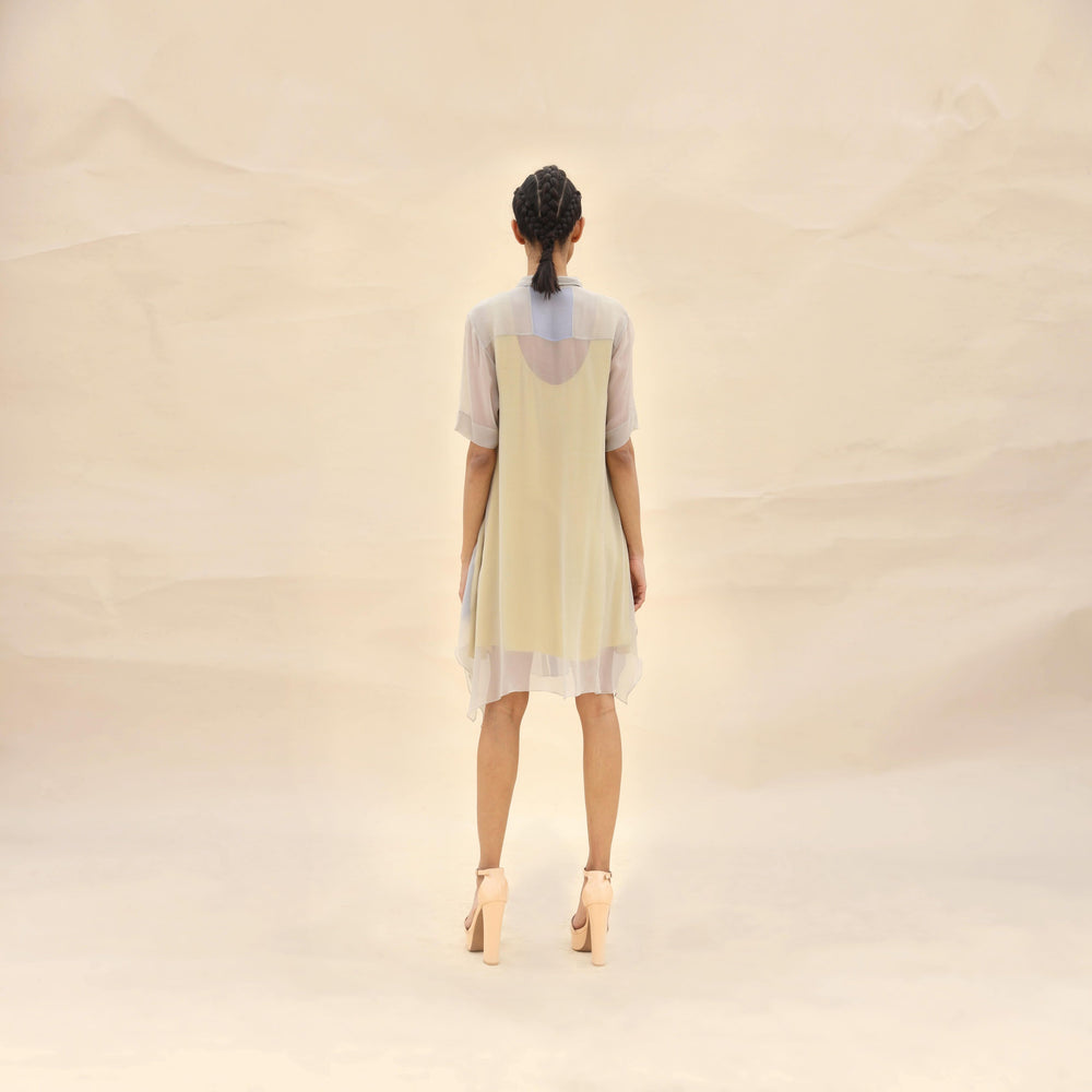 Load image into Gallery viewer, Color Block Shirt Dress.
