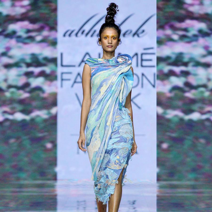 Load image into Gallery viewer, Exaggerated shoulder asymmetric top and embellished skirt. abhishekstudio, abhisheksharma