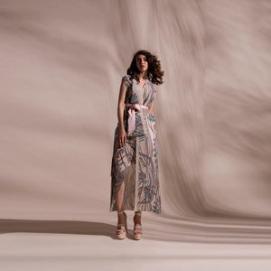 Load image into Gallery viewer, Forest print fine pleated texture layered draped jacket with satin tie up belt. The jacket has a front overlap and a separate crepe inner. The layered jacket has a raised neck. abhishek sharma, abhishekstudio