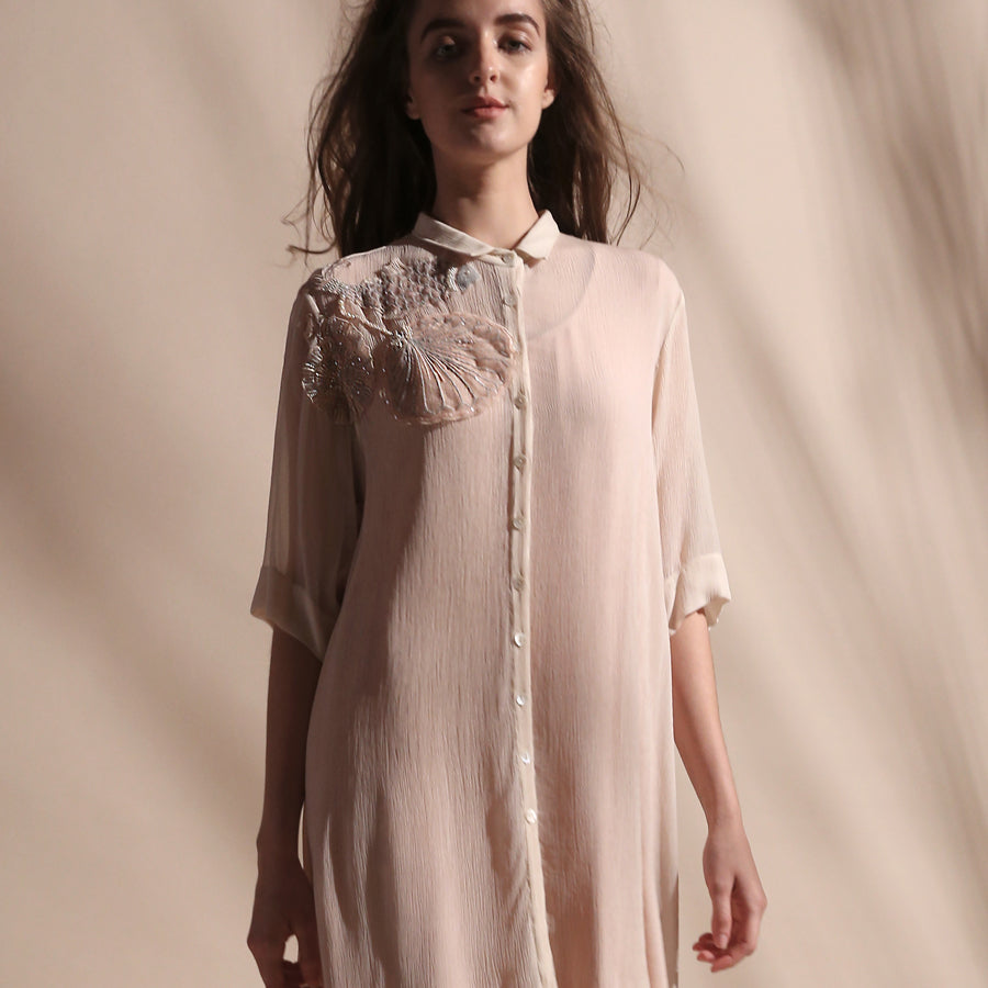 Chiffon long length shirt dress with fine thread and sequin embroidery detailing. The shirt dress is a very elegant and relaxed look that can work for day and evening as well. abhishekstudio, abhisheksharma