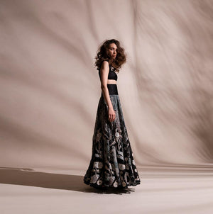 Organza embellished high waisted skirt with Textured tube top. Abhishek sharma, Abhishekstudio.