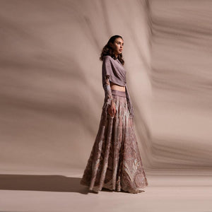 Organza Embellished Lehenga With Draped Top.
