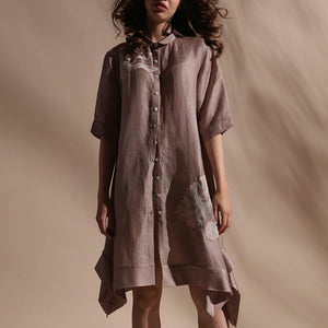 Load image into Gallery viewer, Knee length shirt dress thread 3D placement embroidery. Shirt has a 3/4th sleeve length with front button closure and asymmetric hem. abhishek sharma, abhishekstudio