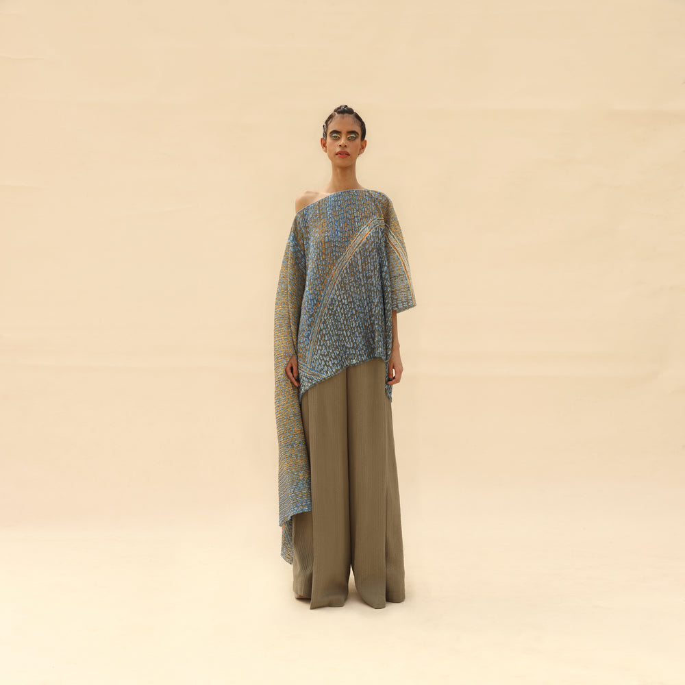 Load image into Gallery viewer, Asymmetric Kimono Style Drop Shoulder Draped Top With Pants.