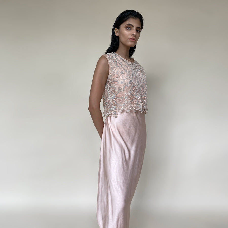 Shear organza crop top with satin draped dress. Top is embellished with intricate sequin/pearl embroidery and bugle beads in forest motifs. abhisheksharma, abhishekstudio