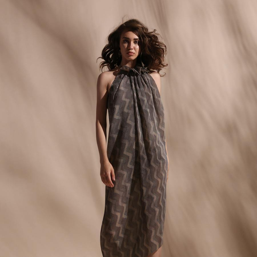 Chevron print pleated textured halter draped dress with ruffled neck. It is perfect for a small gathering or a pool side dinner. The dress has a very young vibe.  abhishek sharma, abhishekstudio