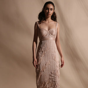 Yarn Textured Calf Length Dress With Fringe Detailing.