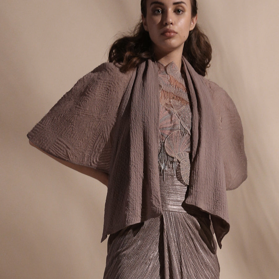 Load image into Gallery viewer, Yarn Textured High Waisted Draped Skirt, Embellished Top And Textured Cape.
