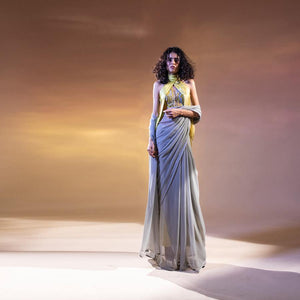 Embellished satin draped blouse with chiffon saree. abhishekstudio, abhisheksharma