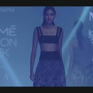 Load and play video in Gallery viewer, Organza embellished high waisted skirt with Textured tube top. Abhishek sharma, Abhishekstudio.
