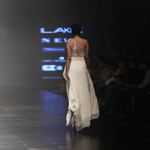 Charger l'image dans la galerie, One off shoulder pleated dress with sheer back. Abhishek sharma, abhishekstudio