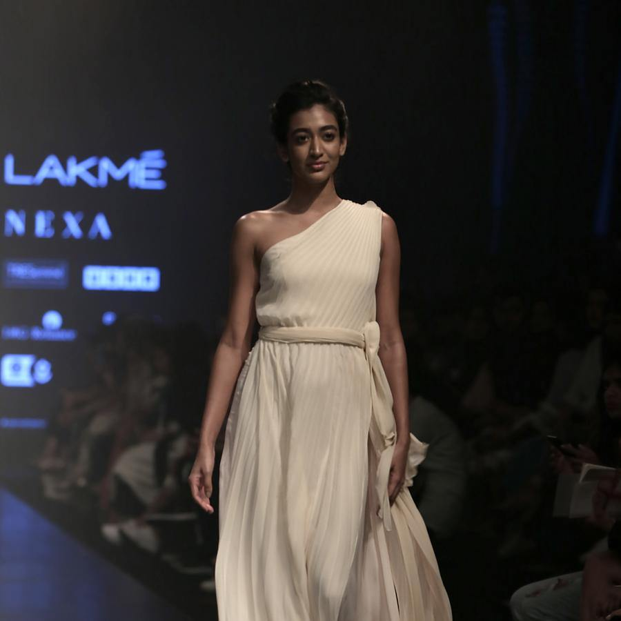 One off shoulder pleated dress with sheer back. Abhishek sharma, abhishekstudio