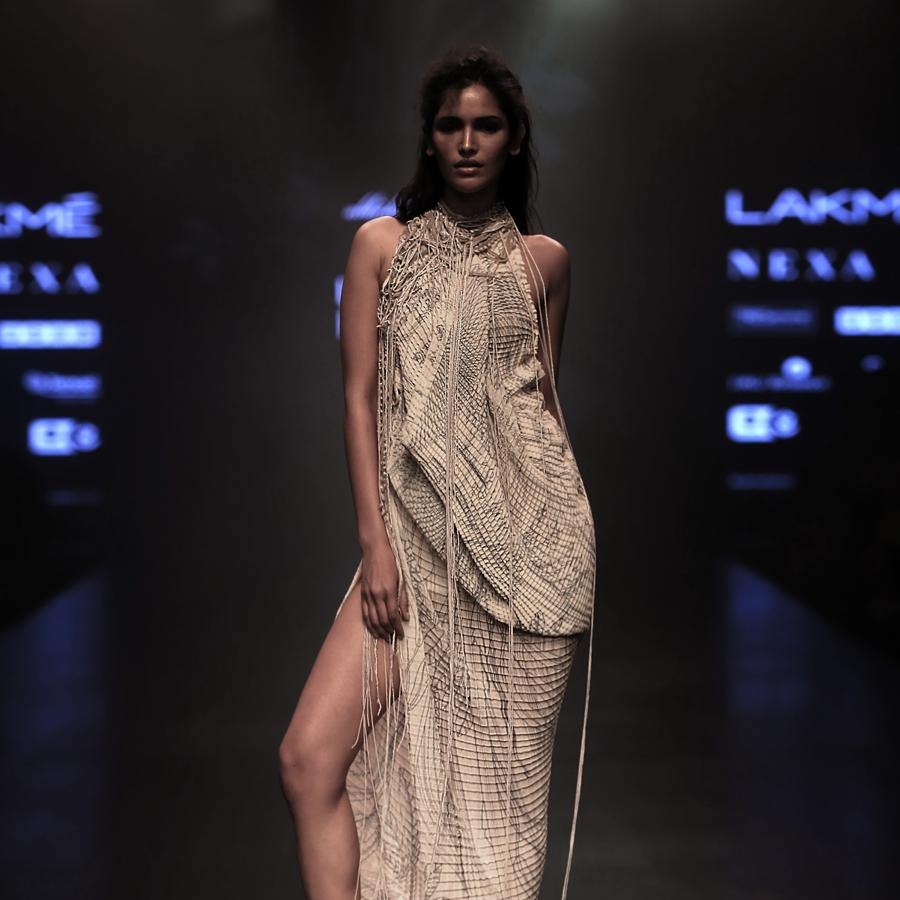 Halter Neck Cowl Draped Dress with Embellished Belt. abhisheksharma, abhishekstudio, Vartika Singh.