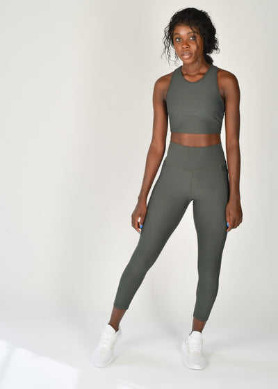 Sustainable activewear Good Days Leggings Core Pocket Dark Olive