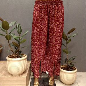 Maroon colour cotton plazo