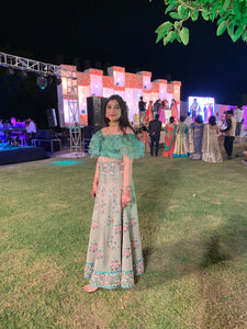 Ruffled Sleeves Mint Green Lehenga