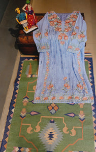 Blue Georgette hand embroider suit