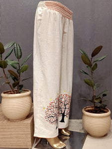Cream colour with resham embroidery cotton plazo