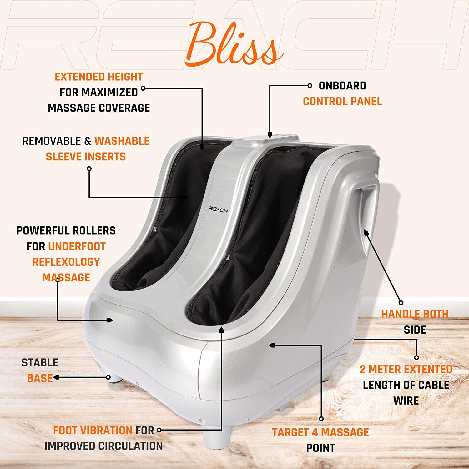 Detailed labelled diagram of the features of a Reach Bliss Leg Massager.