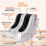 Load image into Gallery viewer, Detailed labelled diagram of the features of a Reach Bliss Leg Massager.
