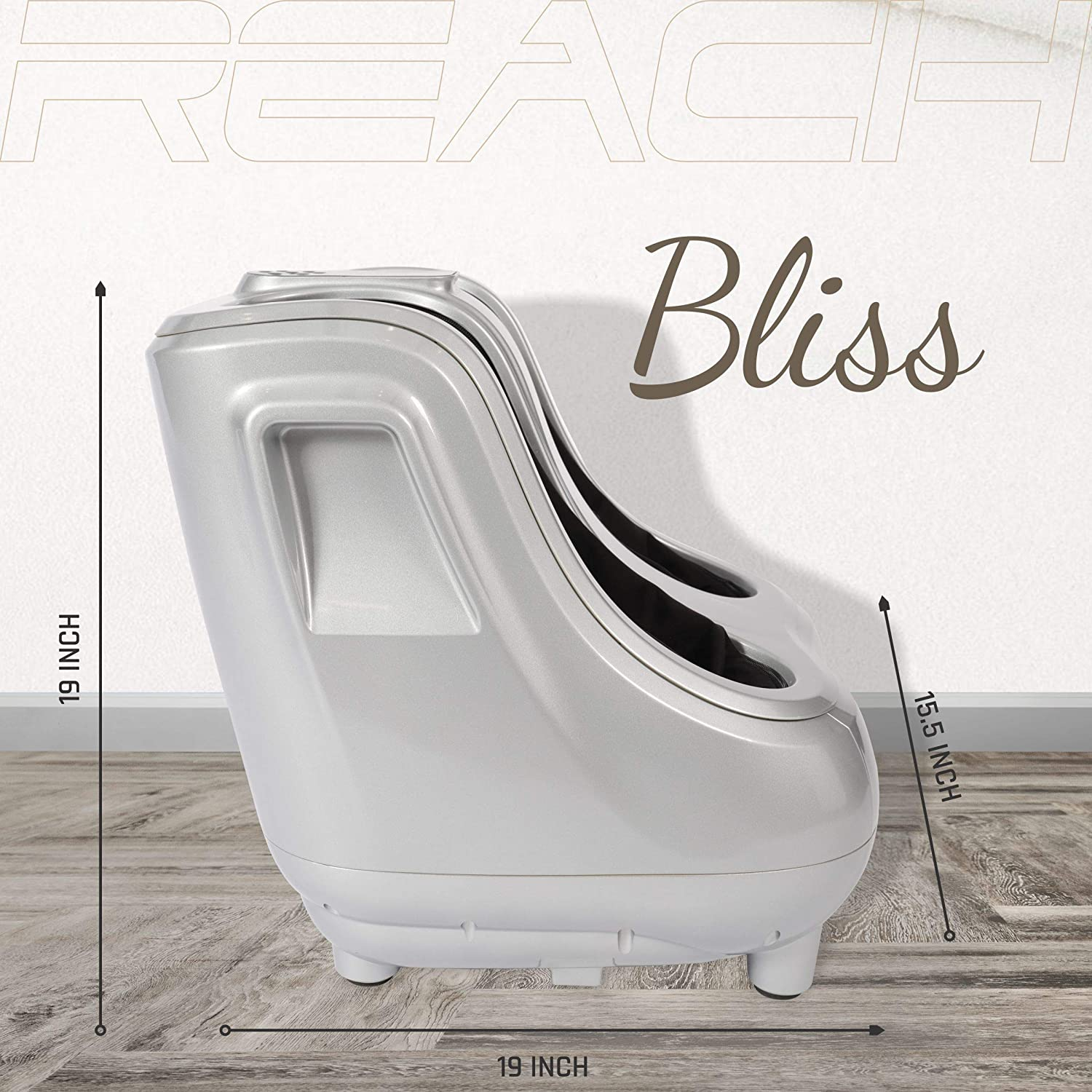 Dimensions of a Reach Bliss Leg Massager.