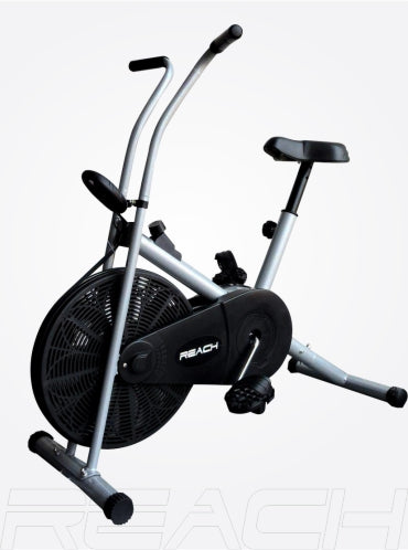 A silver Reach Air Bike (stationary handles).